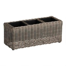 Long Divided All Weather Wicker Outdoor Planter | World Market