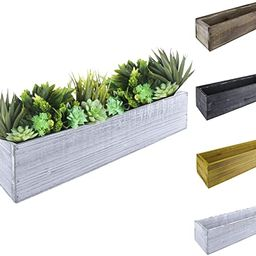 """CYS EXCEL Natural White Wood Planter Rectangle Box with Leak-Proof Plastic Liner (H:4"""" Open:17""""x5... 