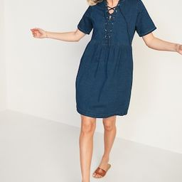 Lace-Up Medium-Wash Jean Shift Dress for Women | Old Navy (US)