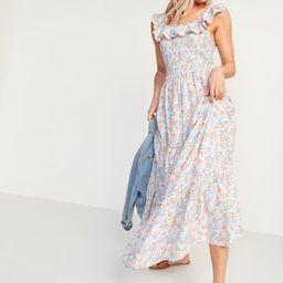 Ruffled Smocked-Bodice Floral Sleeveless Maxi Dress for Women | Old Navy (US)