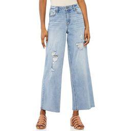 Scoop Women's Hi-Rise Wide Leg Crop Jeans | Walmart (US)