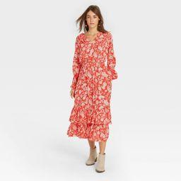 Women's Floral Print Balloon Long Sleeve Ruffle Collar Dress - Universal Thread™   Target
