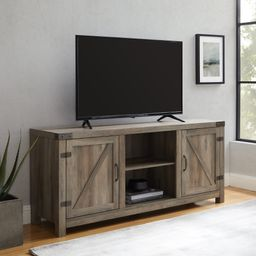 """Manor Park Farmhouse Barn Door TV Stand for TVs up to 65"""", Grey Wash   Walmart (US)"""