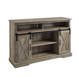 """Manor Park Farmhouse Barn Door TV Stand for TVs up to 58"""", Gray Wash   Walmart (US)"""
