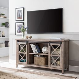 """Evelyn&Zoe Modern Farmhouse TV Stand with Glass Paned Doors for TVs up to 65""""   Walmart (US)"""