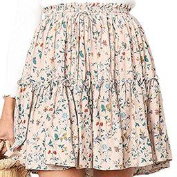 Hibluco Women' Floral Layered Ruffles Tie up High Waist Short Pleated Skirt   Amazon (US)