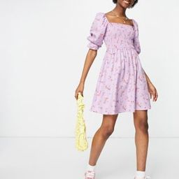 New Look shirred mini dress in lilac floral   ASOS (Global)