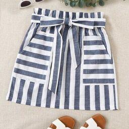 SHEIN Paperbag Waist Two Tone Striped Skirt   SHEIN