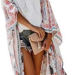Zexxxy Women Floral Kimono Robe Sheer Chiffon Cardigan 3/4 Sleeve Cover Up Long Blouse Outwear   Amazon (US)