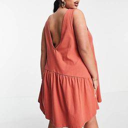 ASOS DESIGN Curve sleeveless smock dress with v back in rust | ASOS (Global)