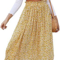 Naggoo Women's Polka Dot Midi Skirts Casual High Elastic Waist A Line Pleated Midi Chiffon Skirts... | Amazon (US)