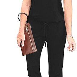 AMABMB Women's Jumpsuits Casual Sleeveless Tank Jumpsuit Elasitic Waist Stretchy Long Pants Rompe... | Amazon (US)