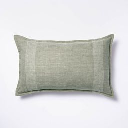 Oversized Linen Striped Throw Pillow Green - Threshold™ designed with Studio McGee | Target