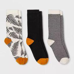 Women's Fern 3pk Crew Socks - A New Day™ Black 4-10   Target
