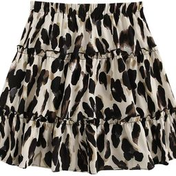 SheIn Women's Leopard Print Drawstring Waist Layer Ruffle Hem Short Skirt   Amazon (US)