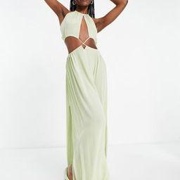 ASOS DESIGN tall cross waist halter maxi beach dress in khaki | ASOS (Global)