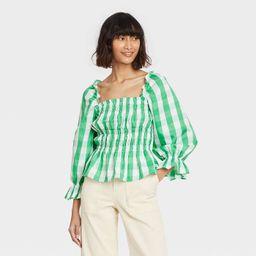 Women's Puff 3/4 Sleeve Smocked Peplum Top - Who What Wear™ | Target
