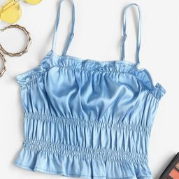 Frilled Ruched Satin Camisole   BLUE | ZAFUL (Global)