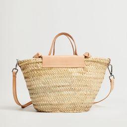 Leather handmade basket bag | MANGO (US)