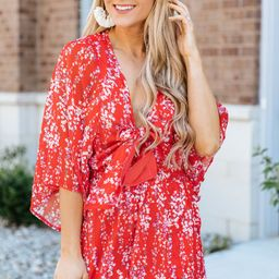 Meet You Anywhere Romper Red Floral FINAL SALE | The Pink Lily Boutique