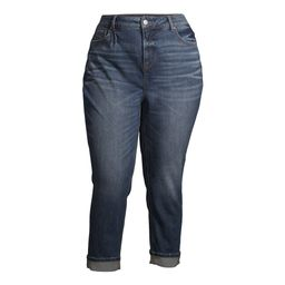 Terra & Sky Women's Plus Size High Rise Cropped Jeans with Roll Cuffs | Walmart (US)