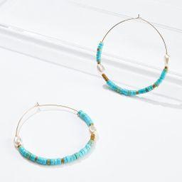 Aqua Seed Bead Hoop Earrings | Cato Fashions