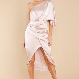 Make A Toast Champagne One Shoulder Dress | Red Dress