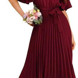 Milumia Women's Elegant Belted Pleated Flounce Sleeve Long Dress | Amazon (US)