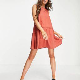 ASOS DESIGN sleeveless smock dress with v back in rust | ASOS (Global)
