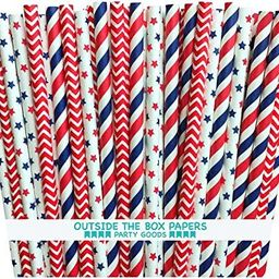 Outside the Box Papers Stars and Stripes Paper Straws 7.75 Inches 75 Pack Red, White, Blue   Amazon (US)