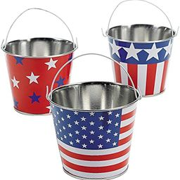 Patriotic American Flag Buckets (Set of 12) Tin Pails for Fourth of July   Amazon (US)