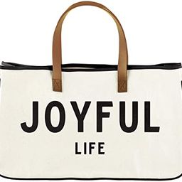 Creative Brands Faithworks - Large Inspirational Canvas & Leather Tote, 20 x 11-Inch, Joyful Life... | Amazon (US)