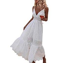 BerryGo Women's Embroidery Pearl Button Down Dress V Neck Spaghetti Strap Maxi Dress   Amazon (US)