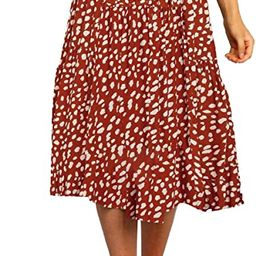 MEROKEETY Womens Elastic High Waist Leopard Print Polka Dot A-Line Swing Midi Skirt | Amazon (US)