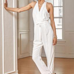 In the City White Surplice Sleeveless Jumpsuit   Lulus (US)