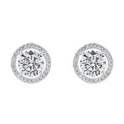 Cate & Chloe Ariel 18k White Gold Halo CZ Stud Earrings, Silver Simulated Diamond Earrings, Round...   Walmart (US)