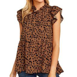 Women Ruffled Sleeve Button Closure Polka Dots Printed Pleated Shirt   Walmart (US)