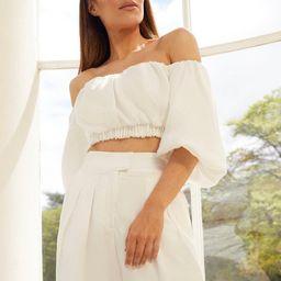 Linen Blend Bardot Crop Top | Karen Millen UK & IE