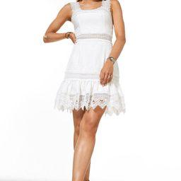 Cotton and Lace Trim Short Sundress   Karen Millen UK & IE