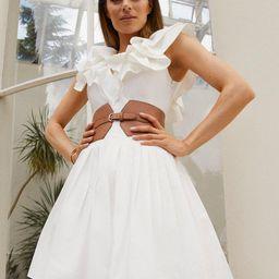 Organic Cotton Poplin Ruffle Shoulder Dress | Karen Millen UK & IE