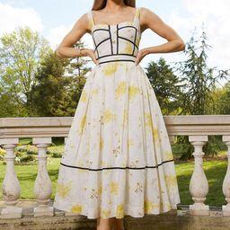 Meadow Floral Corset Detail Silk Cotton Dress   Karen Millen UK & IE