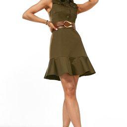 Polished Cotton Sateen Belted Utility Dress   Karen Millen UK & IE