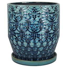 Trendspot 10 in. Dia Blue Rivage Ceramic Planter-CR10853-10A - The Home Depot   The Home Depot