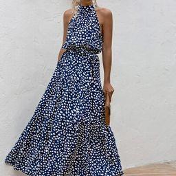 All Over Print Belted Halter Dress   SHEIN