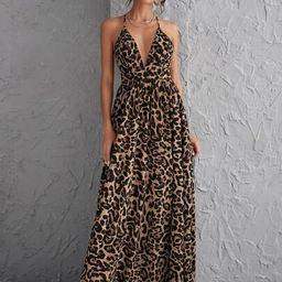 SHEIN Plunging Neck Crisscross Open Back Leopard Dress   SHEIN