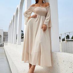 Off Shoulder Shirred Bell Sleeve Dress   SHEIN