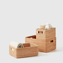 Large Ori Curved Rattan Bin Honey Natural | The Container Store