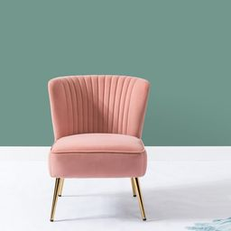 Monica Side Traditional Style Velvet Accent Chair in Pink | Walmart (US)