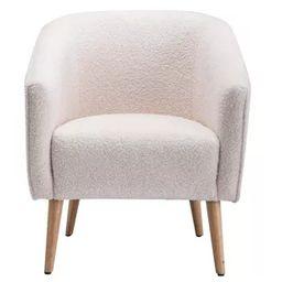 Faux Shearling Barrel Accent Chair Cream Faux Shearling - WOVENBYRD | Target