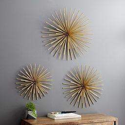 DecMode Indoor Gold Iron Tubes Contemporary Wall Decor, Set of 3 | Walmart (US)